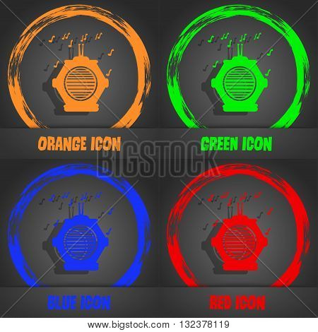 Old Analog Radio Icon. Fashionable Modern Style. In The Orange, Green, Blue, Red Design. Vector