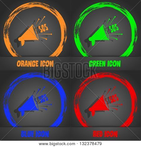 Sos Web Speaker Icon. Fashionable Modern Style. In The Orange, Green, Blue, Red Design. Vector