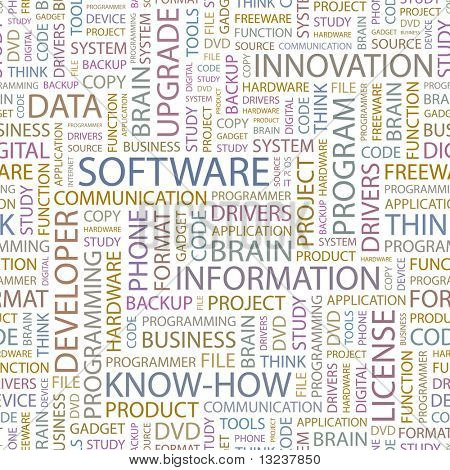 SOFTWARE. Seamless vector pattern with word cloud. Illustration with different association terms.