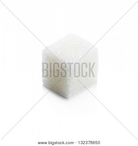 Cube of sugar isolated on white