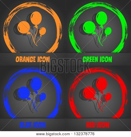 Balloons Icon. Fashionable Modern Style. In The Orange, Green, Blue, Red Design. Vector
