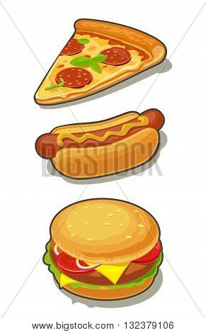Hamburger pizza hotdog. Set fast food with shadow. Vector isolated flat illustration for poster menus brochure web and icon.