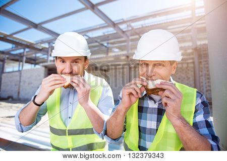 Hungry workers.  Angry and serious workers having lunch-hour and eating tasty sandwiches while being on construction