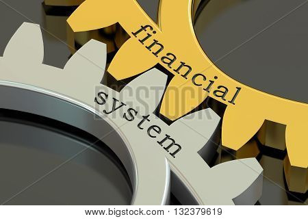 Financial System concept on the gearwheels 3D rendering
