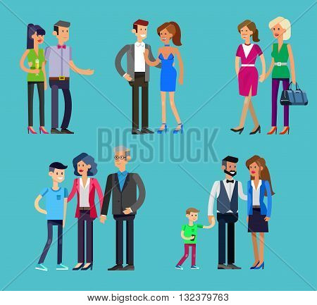 Detailed character people family, parents with kids, couple, family with children, gay family. Vector family character. Illustration family people
