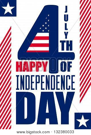 Happy Independence Day vertical background - July 4th - Fourth of July Vector - Memorial Day - Flag Day - Patriotic