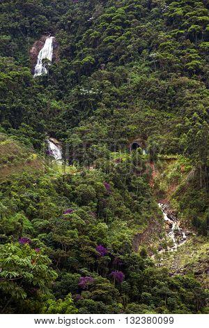 Brazilian landscape - the jungle and waterfalls. Brazil