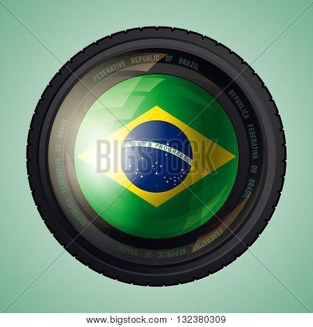 Flag of Brazil in a camera lens. Federative Republic of Brazil flag. Vector illustration.