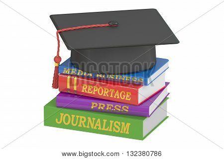 Journalism education concept 3D rendering isolated on white background