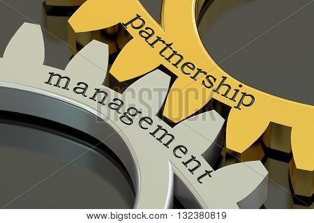 Partnership Management concept on the gearwheels 3D rendering
