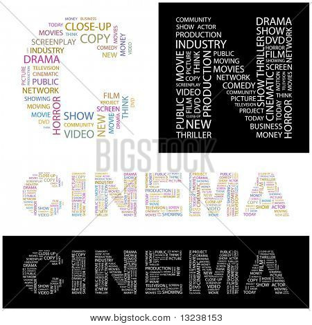 CINEMA. Word collage. Illustration with different association terms.
