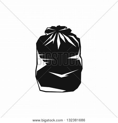 Black trash bag icon in simple style isolated on white background