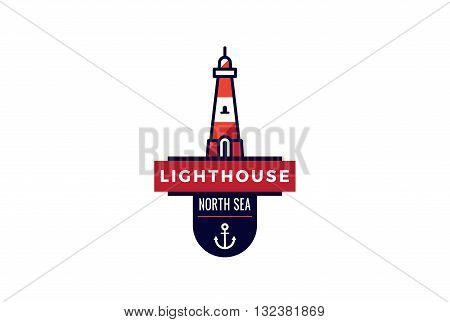 Lighthouse Logo vintage retro design vector Creative Navy Marine