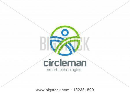 Circle Man abstract Logo design vector. Digital People Game icon