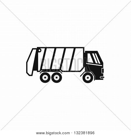 Garbage truck icon in simple style isolated on white background