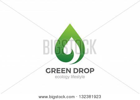 Eco Green Leaf abstract drop Logo design vector Bio droplet icon