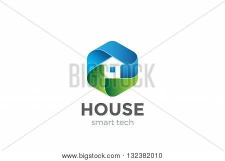 Eco House Logo design vector Hexagon Home services Household