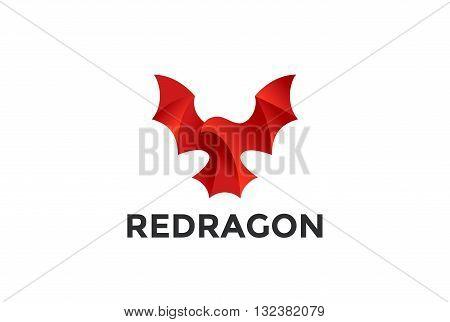 Flying Red Dragon Logo abstract design vector Reptile Bat icon