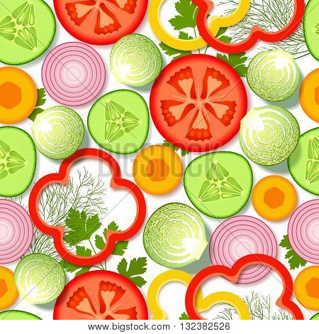 Seamless pattern with sliced fresh vegetables and greens on white background