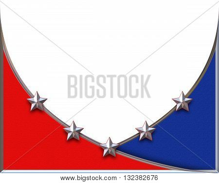 This is a Red white and blue background with chromed stars illustration with clipping path