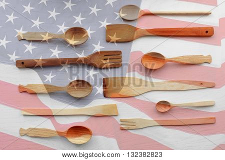 Wooden cutlery set, top view. American cuisine food concept