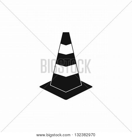 Traffic cone icon in simple style isolated on white background