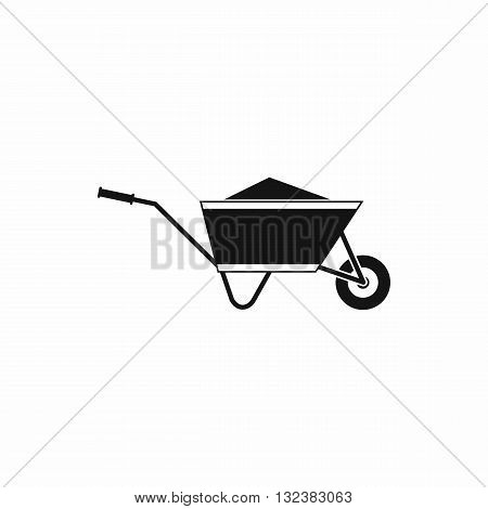 Wheelbarrow with sand icon in simple style isolated on white background