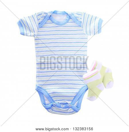 Clothes for baby boy on light background