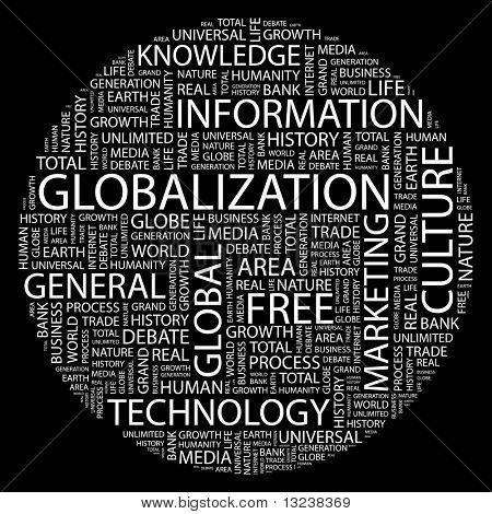 GLOBALIZACIÓN. Palabra collage sobre fondo negro. Ilustración con términos diferentes de la asociación.