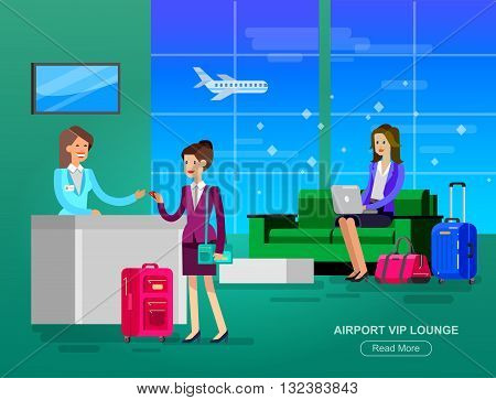 Vector detailed characters people in airport lounge. Woman goes VIP lounge Airport, gives her credit card Receptionist, waiting hall flat  illustration