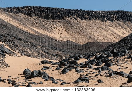 Basalt rocks in the Black Desert near the Bahariya Oasis in Egypt.