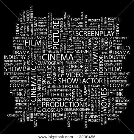 CINEMA. Colagem de palavra sobre fundo preto. Ilustração com termos de associação diferente.