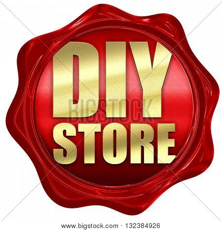 diy store, 3D rendering, a red wax seal