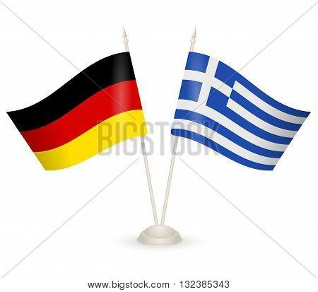 Table stand with flags of Greece and Germany. Symbolizing the cooperation between the two countries.