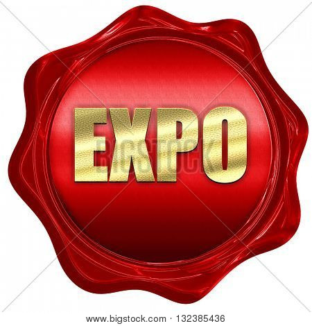 expo, 3D rendering, a red wax seal