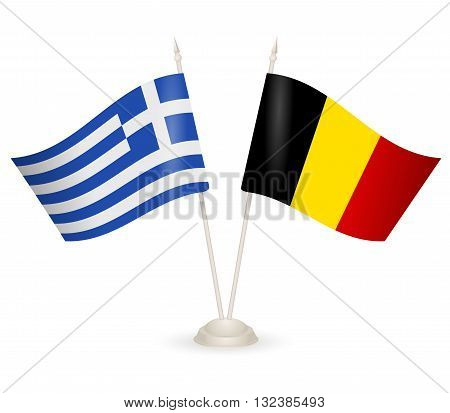 Table stand with flags of Greece and Belgia. Symbolizing the cooperation between the two countries.