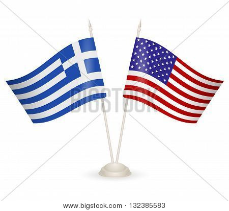 Table stand with flags of Greece and USA. Symbolizing the cooperation between the two countries.