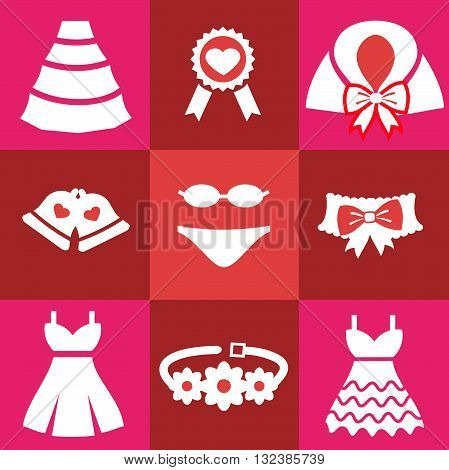Set wedding icons. Bell Dress garter wedding underwear coat cloak sash belt medal Flat isolated on red background