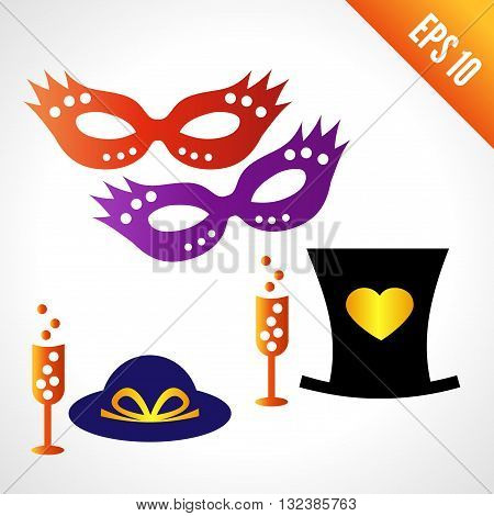 Set icons carnival masks, hats. a glass of champagne. isolated on white background.