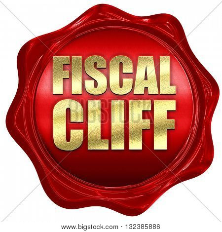 fiscal cliff, 3D rendering, a red wax seal
