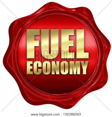 fuel economy, 3D rendering, a red wax seal