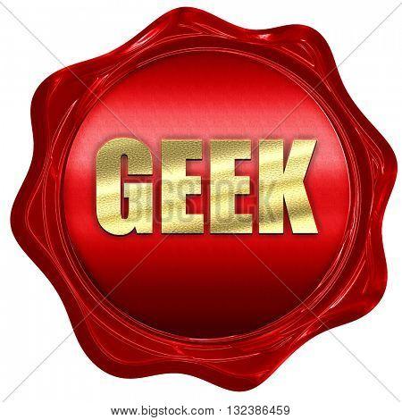 geek, 3D rendering, a red wax seal