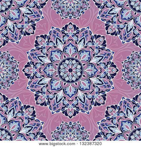 Oriental seamless pattern of mandalas. Vector lilac background. Template for textile carpet wallpaper shawls.