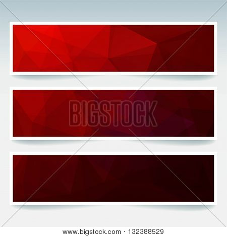 Vector Banners Set With Polygonal Abstract Triangles. Abstract Polygonal Low Poly Banners. Dark Red