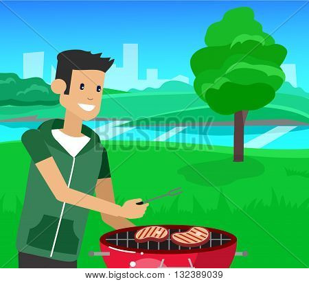Vector character men on picnic or Bbq party.  Chef men cooking steaks on grill. Food and barbeque, summer and grill. Vector barbeque party, illustration barbeque party.