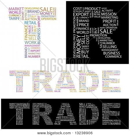 TRADE. Word collage. Illustration with different association terms.