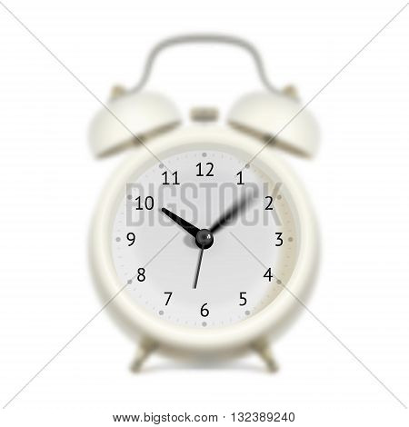 White alarm clock with moving sweep-second hand minute hand and hour hand. Blurred clock body. Time flying concept