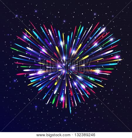 Heart-shaped firework with multicolored lights. The glow and sparkle around. Bright love concept