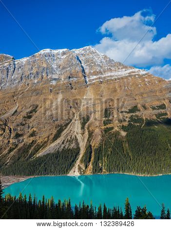 Banff National Park. Canada. Magnificent mountain lake with turquoise glacial water