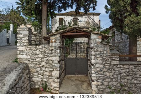 Entrance of old houses in village of Theologos,Thassos island, East Macedonia and Thrace, Greece